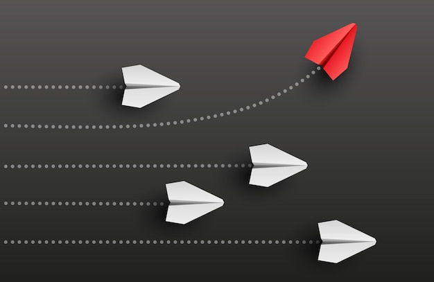 개성 개념 개별적이고 독특한 지도자 빨간 종이 비행기가 측면 벡터 일러스트 레이 션으로 날아갑니다.
