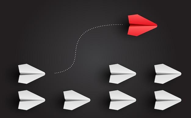 개성 개념 개별 지도자 종이 비행기가 측면 벡터 일러스트 레이 션으로 날아갑니다.