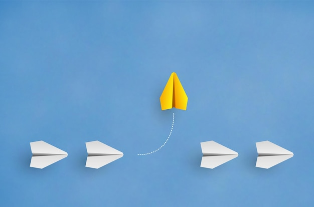 Individuality concept individual and unique leader yellow paper plane flies to the side vector illustration