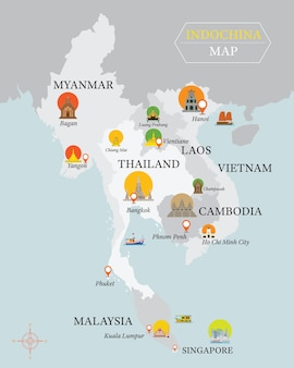 Indochina map with national capital landmarks