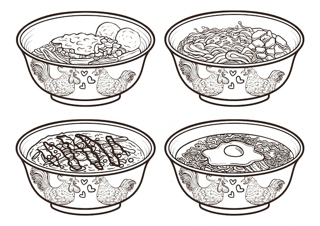 Indonesia asia food outline illustrations