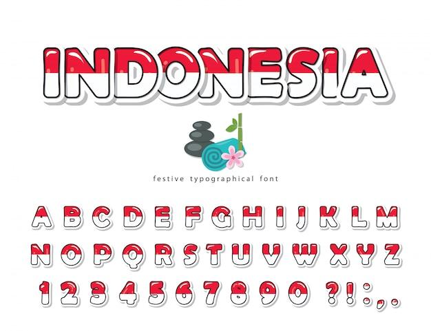 Индонезия мультяшный шрифт. цвета индонезийского национального флага.