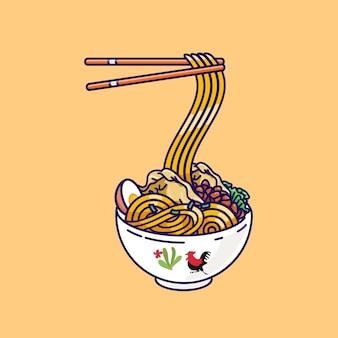 餃子のイラストとインドネシアのチキンヌードルスタイル。インドネシアのミアヤムのイラスト。