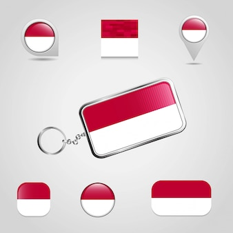 Indonesia country flag on keychain