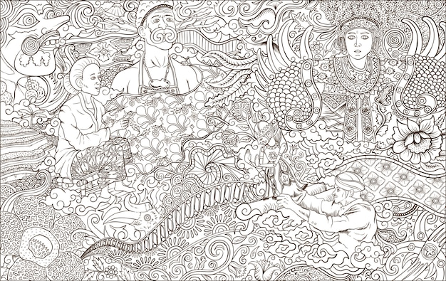 Indonesia culture outline  illustration