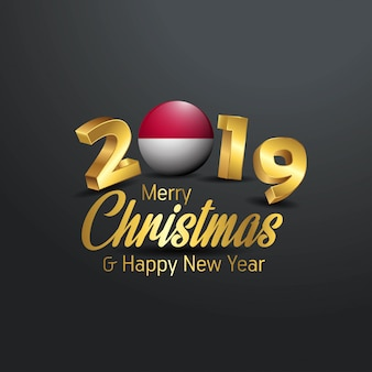 Indonesia flag 2019 merry christmas typography