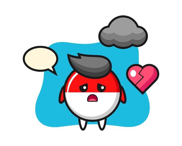 Флаг индонезии значок иллюстрации шаржа разбитое сердце