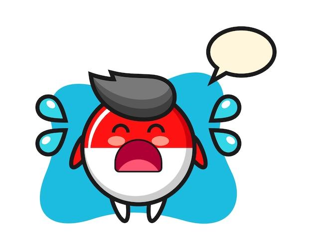 泣いているジェスチャーでインドネシア国旗バッジ漫画イラスト
