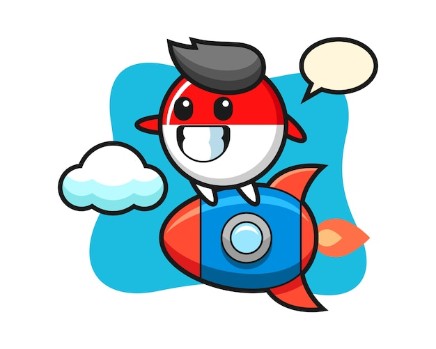 Indonesia flag badge mascot character riding a rocket