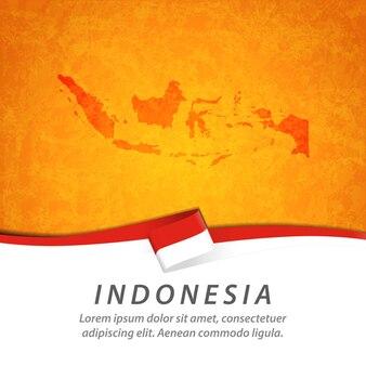 Флаг индонезии с центральной картой
