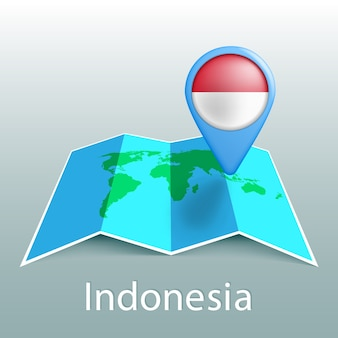 Indonesia flag world map in pin with name of country on gray background
