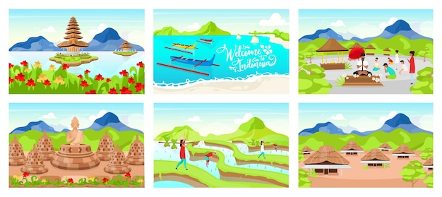 Indonesia flat illustrations set. indonesian wooden houses. pura ulun danu bratan. place of worship. boats in lake. rice plantation. bali cartoon backgrounds collection