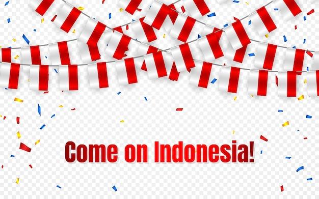 透明な背景に紙吹雪とインドネシアの花輪の旗、お祝いテンプレートバナーのバンティングを掛ける、