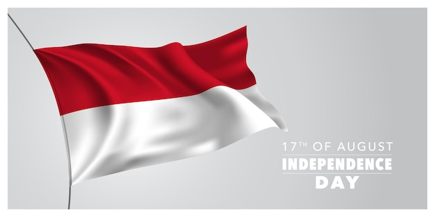Indonesia happy independence day greeting card banner horizontal vector illustration