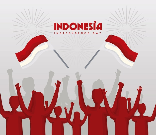 Indonesia independence celebration people and flags