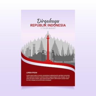 День независимости индонезии 17 августа баннер tempate