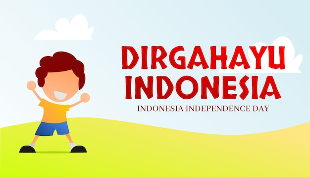 Indonesia independence day banner premium vector