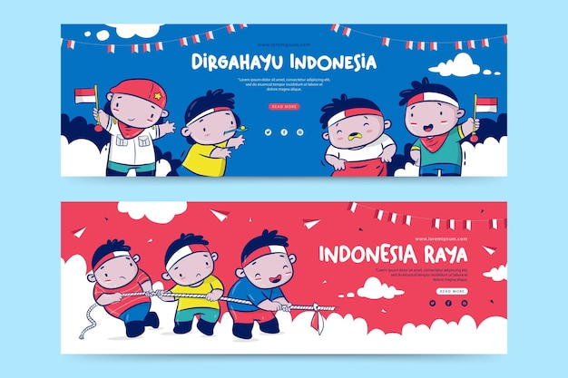 Indonesia independence day banner template with the cartoon illustration dirgahayu means celebration raya means great