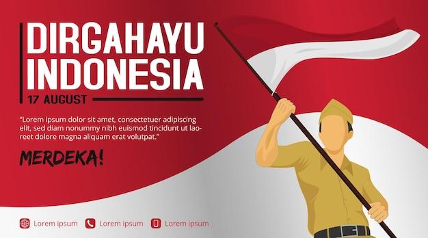 군인이 있는 인도네시아 독립 기념일 배너 템플릿이 막대기로 깃발을 들고 흔들고 있습니다