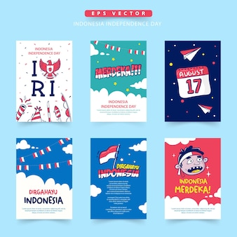 Indonesia independence day card collection dirgahayu means celebration merdeka means independent
