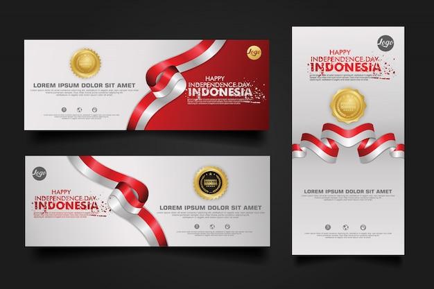 Празднование дня независимости индонезии, баннер набор дизайн шаблона иллюстрация