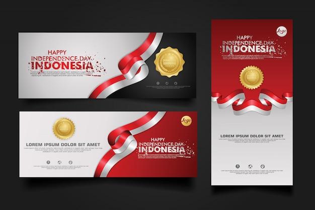 Indonesia independence day celebration, banner set design template illustration