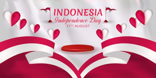 Indonesia independence day decoration with ribbon red and white hearts and small flag