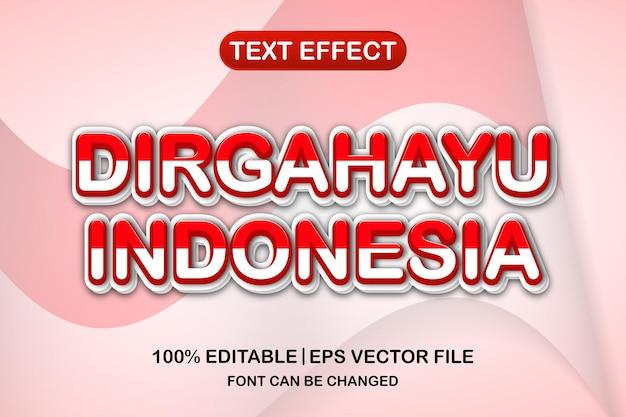 인도네시아 독립 기념일, dirgahayu indonesia 3d 편집 가능한 텍스트 효과