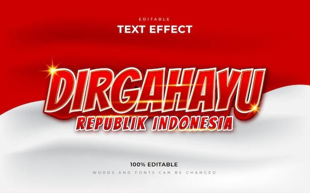 День независимости индонезии диргахаю республика индонезия редактируемый текстовый эффект Premium векторы