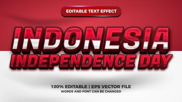 Редактируемый текстовый эффект дня независимости индонезии с красно-белым флагом