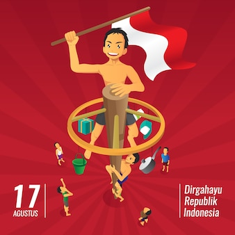 Indonesia independence day games, panjat pinang, pole climbing