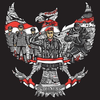 Indonesia independence day in garuda pancasila silhouete