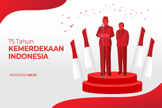 Indonesia independence day greeting card concept illustration. 75 tahun kemerdekaan indonesia translates to 75 years indonesia independence day.