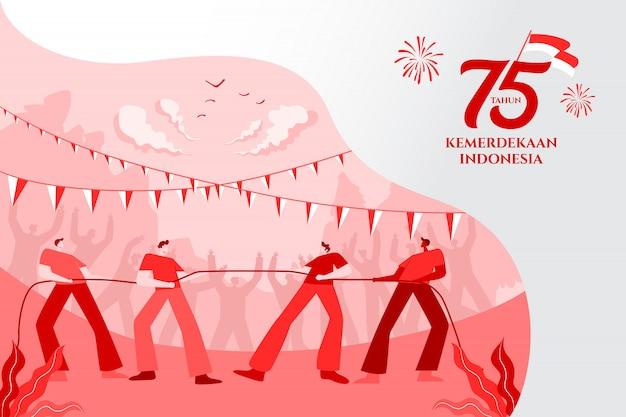 Поздравительная открытка дня независимости индонезии с традиционной иллюстрацией концепции игр. 75 tahun kemerdekaan индонезия означает 75 лет независимости индонезии.