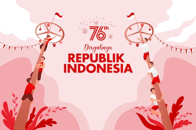 Indonesia independence day greeting card with traditional games concept illustration. dirgahayu republic indonesia translates to republic of indonesia independence day