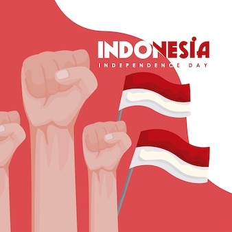 Indonesia independence day hands and flags