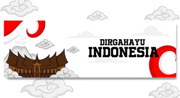 Indonesia independence day landscape banner design