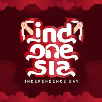 Indonesia independence day lettering