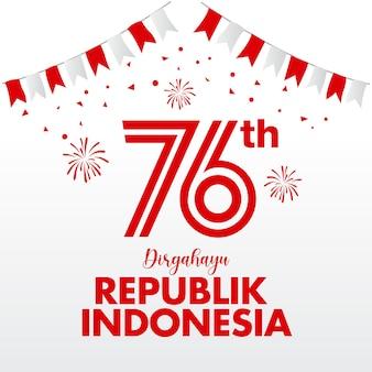 Концепция логотипа день независимости индонезии. республика диргахайу в индонезии переводится как день независимости республики индонезия
