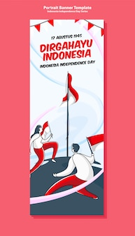 Indonesia independence day portrait banner template