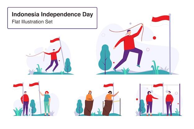 インドネシア独立記念日セットフラットイラスト