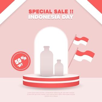 Шаблон баннера в социальных сетях дня независимости индонезии с образцом продукта. чистый минималистский красный подиум для флеш-продажи баннера