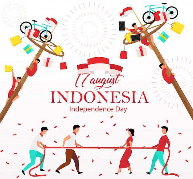 Indonesia independence day social media post . national celebration. advertising web banner  template. social media booster, content layout. promotion poster, print ads,  illustrations