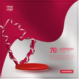Indonesia independence day template with heart wrapped in ribbon flag on red and whit background