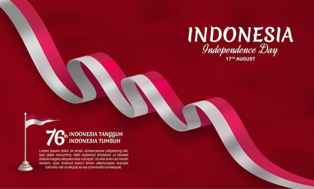 Indonesia independence day waving ribbon flag banner template with dark red background
