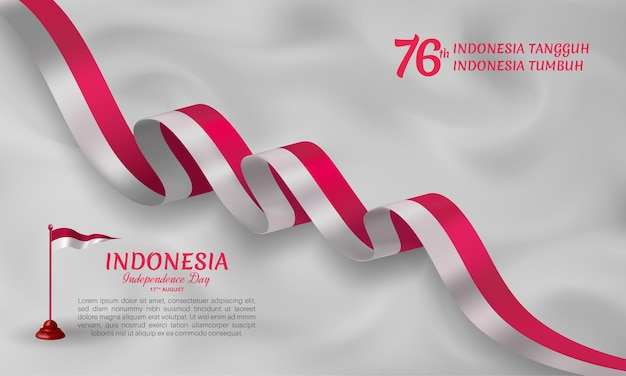Indonesia independence day waving ribbon flag banner template with light gray background
