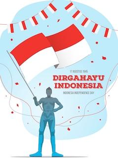 인도네시아 국기를 들고 있는 남자와 인도네시아 독립 기념일. 디르가하유 인도네시아는 행복한 인도네시아의 날로 번역됩니다.