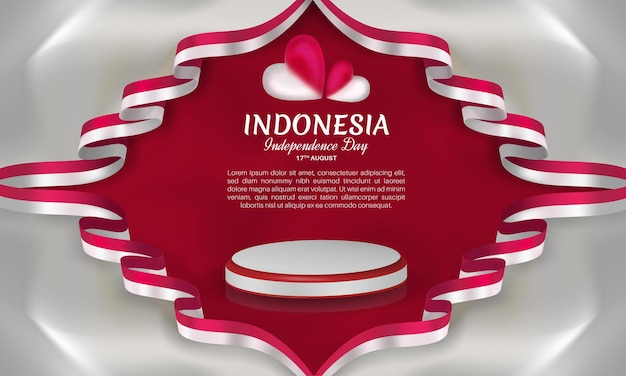 Indonesia independence day with ribbon frame red and white heart on isolated light gray background