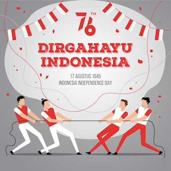 Indonesia independence day with traditional games. 76 tahun dirgahayu indonesia translates to 76 years celebrating indonesia independence day