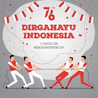День независимости индонезии с традиционными играми. 76 тахун диргахаю в индонезии означает 76-летие празднования дня независимости индонезии